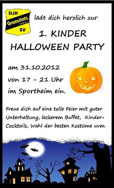 kinder halloween party 2012 herzlich willkommen bei der djk gramschatz. Black Bedroom Furniture Sets. Home Design Ideas