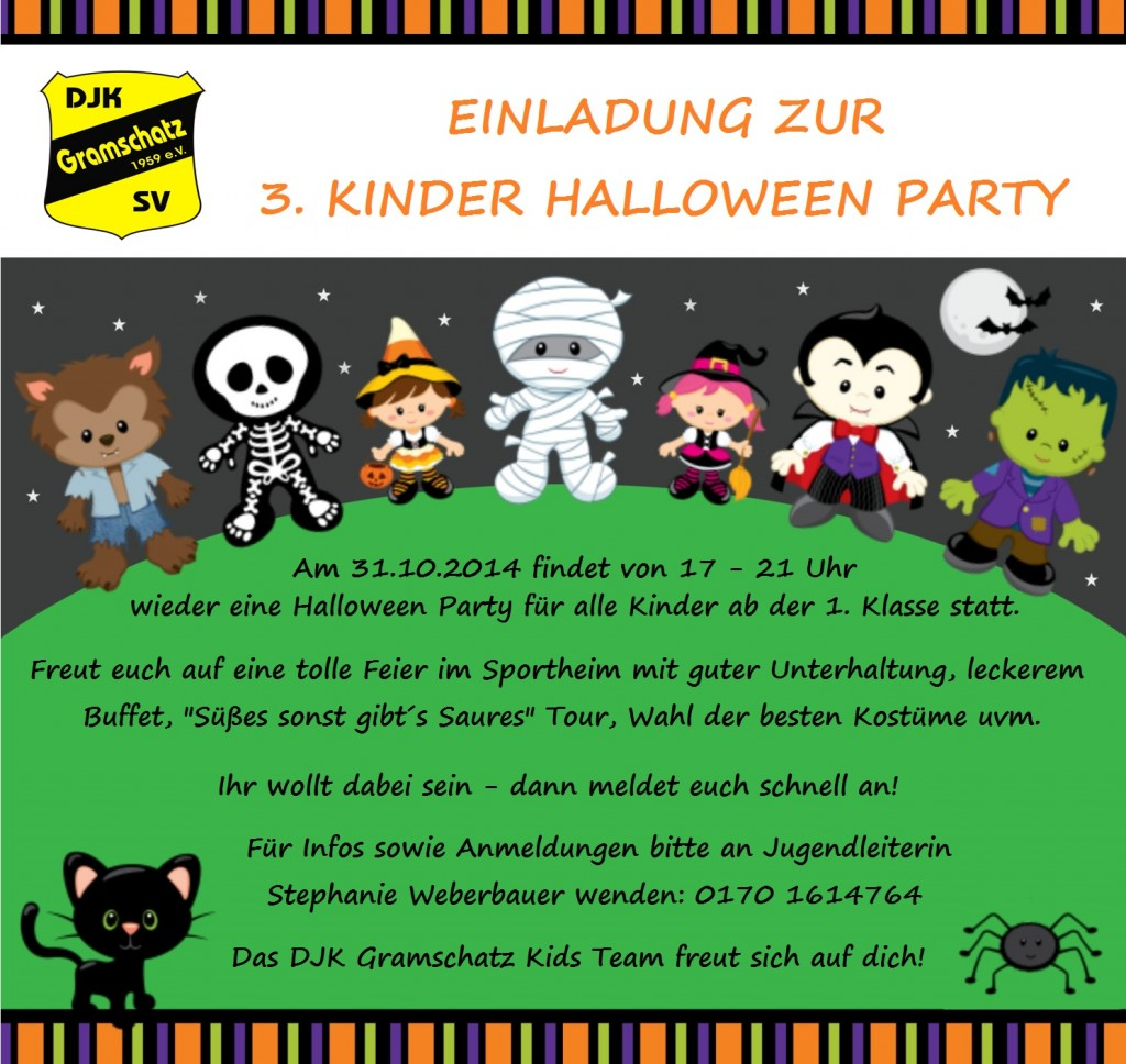 einladung zur 3 kinder halloween party herzlich willkommen bei der djk gramschatz. Black Bedroom Furniture Sets. Home Design Ideas